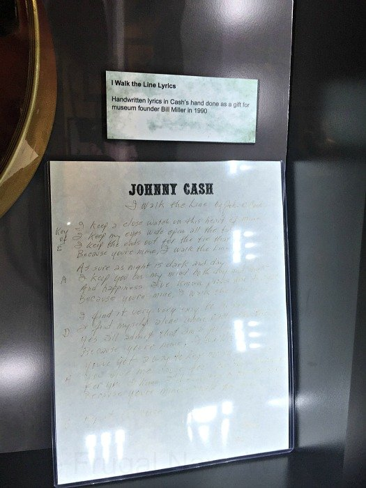 Johnny Cash Museum – Nashville, Tennessee I walk the line lyrics