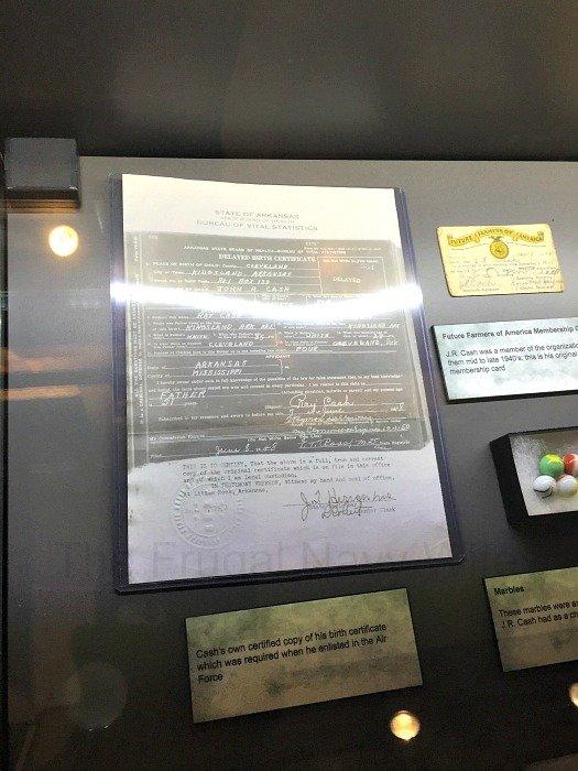 Johnny Cash Museum – Nashville, Tennessee Birth Cert