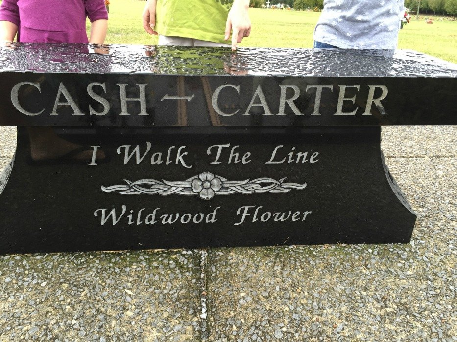 Johnny Cash and June Carter Cash Grave and Home – Hendersonville, Tennessee Bench Front