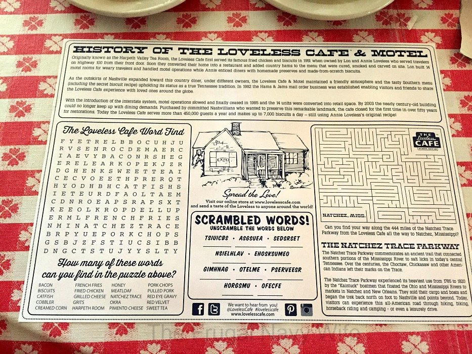 The Loveless Café – Nashville, Tennessee Placemat