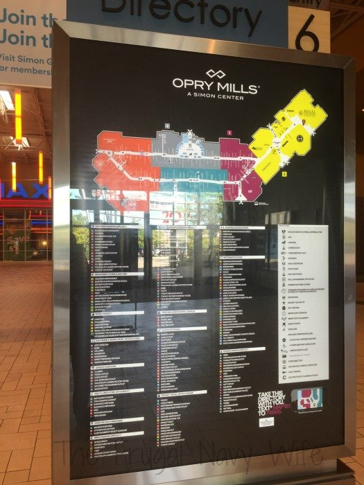 Opry Mills Mall – Nashville, Tennessee Mall Map
