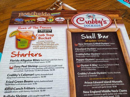 Crabby's Dockside Menu
