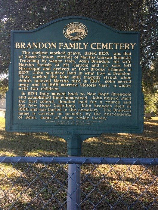 Historical Brandon Florida Driving Tour Cemetary Sign