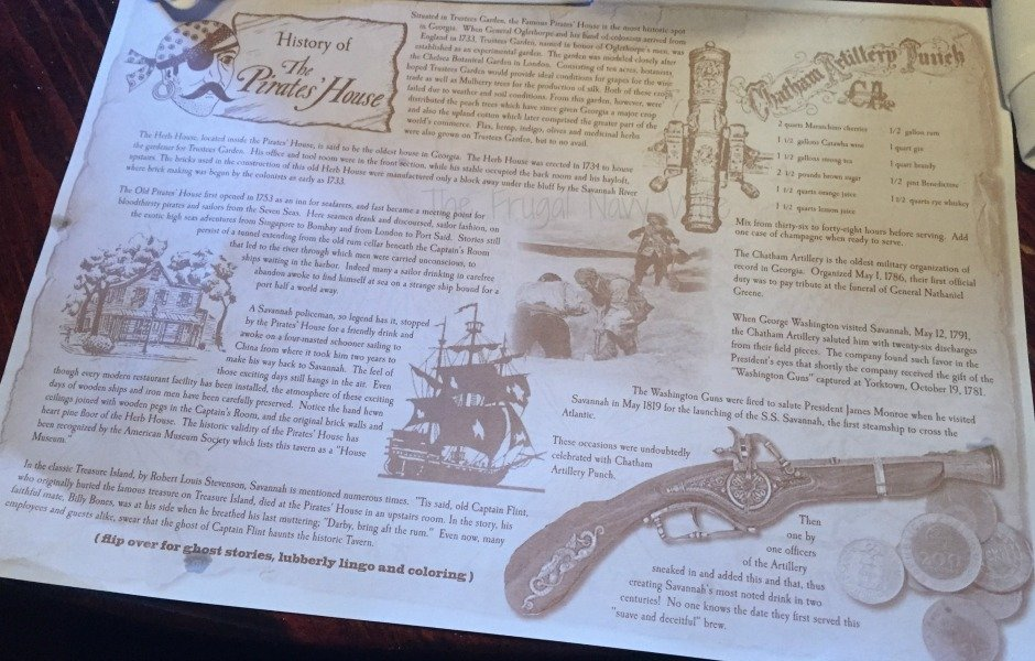 Touring Historic Downtown Savannah Georgia and Lunch at the Pirate House Placemat