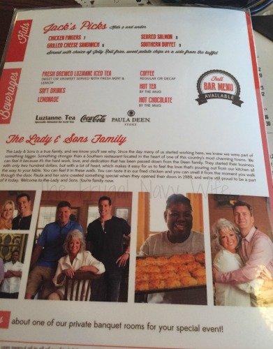 Paula Deen's The Lady and Sons Restaurant - Savannah, Georgia Menu Back