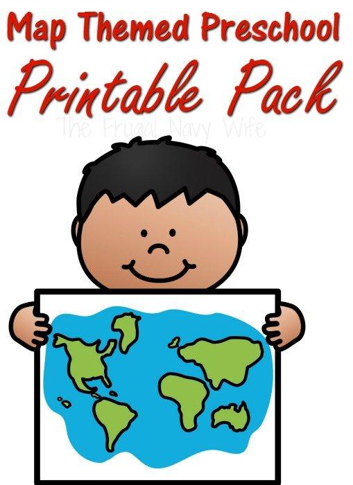 Map Themed Preschool Worksheets Printable Pack