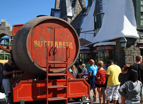 ORLANDO - OCT 25: The Butterbeer wagon in Wiizarding World at Universal Islands of Adventure in Orlando. Taken October 25, 2013 in Orlando, FL.