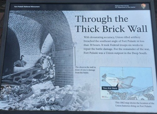 Fort Pulaski Damage Sign