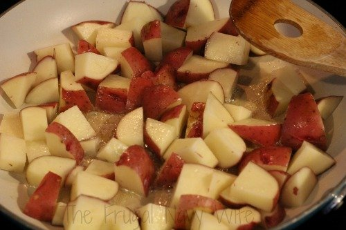 One Pot Meals - Kielbasa and Potatoes Cooking