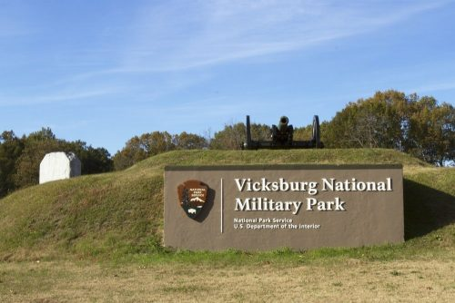 Entrance to Vicksburg National Military Park in Vicksburg, Mississippi