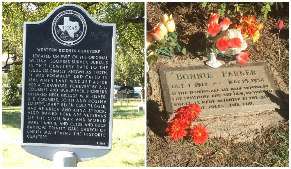 The historical sign in outside Cylde's Grave and Bonnies grave.