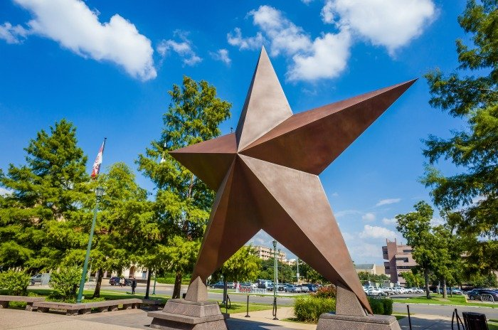 Texas star statue outside the Bob Bullock Texas State History Museum in Austin Texas