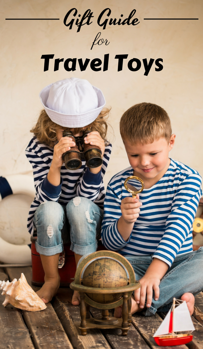 Girl in sailor hat using binoculers to stare a globe and a boy using a magnifying gladd to stare at globe.