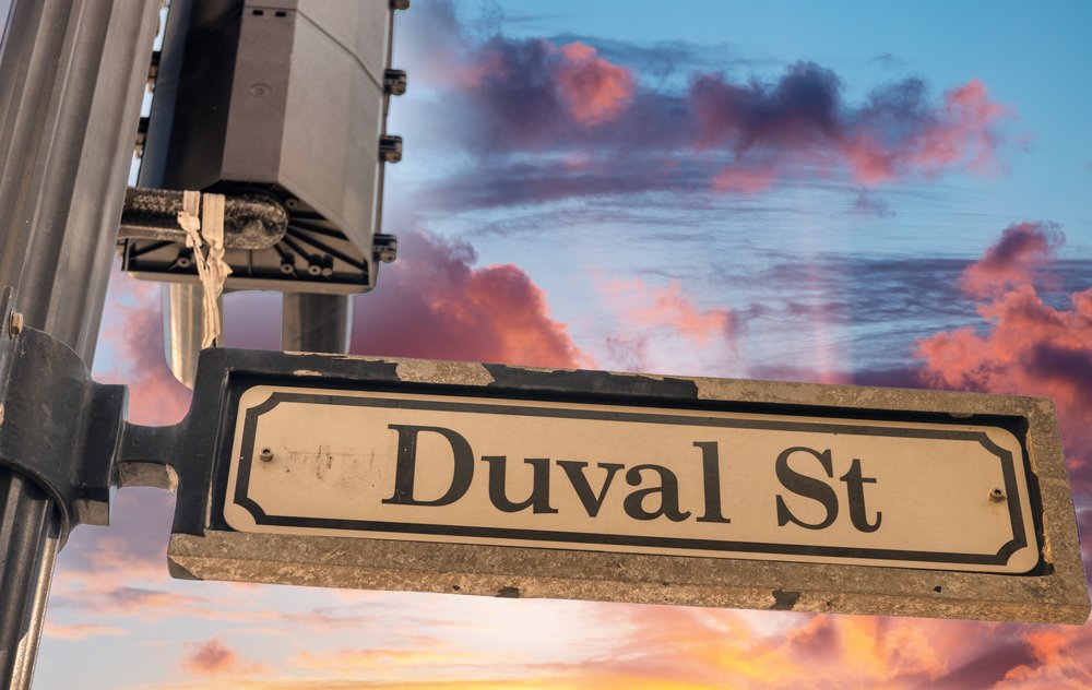 Duval street sign in Key West.