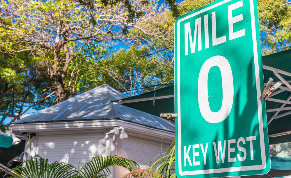 Mile Zero street sign in Key West, FL.