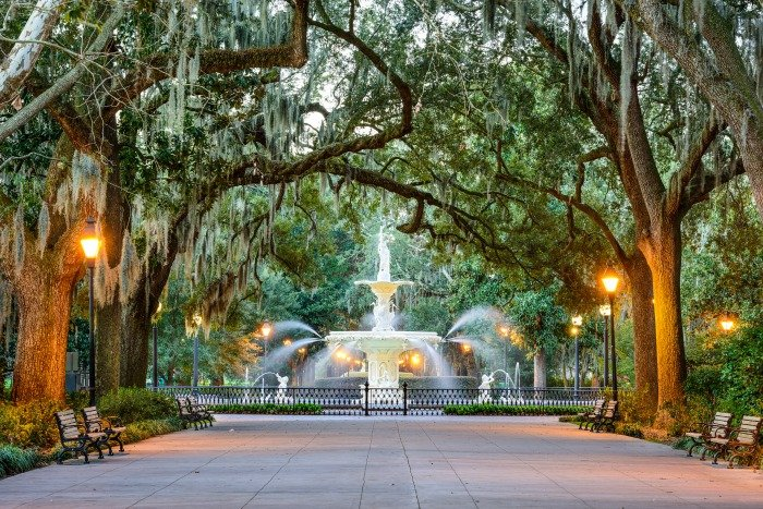 Savannah, Georgia, USA at Forsyth Park Fountain.