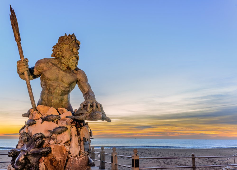 Statue of King Neptune in Virginia Beach. Taken just before sunrise