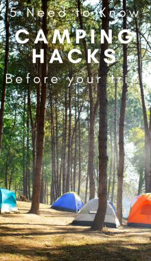 5 camping tricks to make your stay a little more comfortable, and efficient. Enjoy your family adventure without the hiccups along the way. #camping #campinghacks #hacks #travel #thefrugalnavywife | Camping Hacks | Camping Tricks | Family Travel | Adventure |