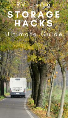 RV storage is an important part of owning a recreational vehicle. If you're traveling, you need places to store your belongings. Check out this list of ultimate RV storage hacks. #rvliving #storagehacks #travelhacks #rvhacks #ourroaminghearts | Travel | RV Living | RV Storage Hacks | Storage Hacks for Travelers