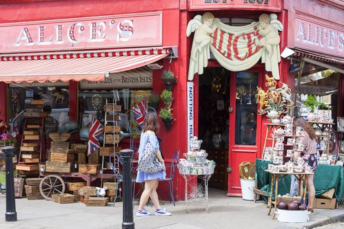 LONDON, UNITED KINGDOM - Alice's shop, famous antique shop at the Portobello road, shop window, Nothing Hill