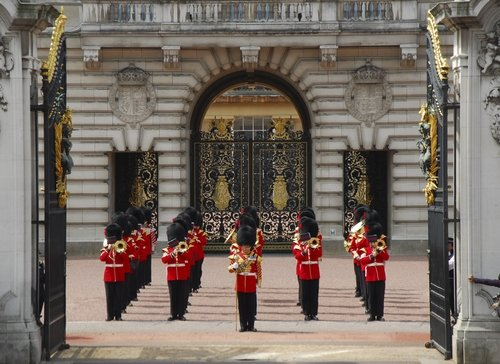 The changing of the Guard at the Buckingham Palace in London, U.K
