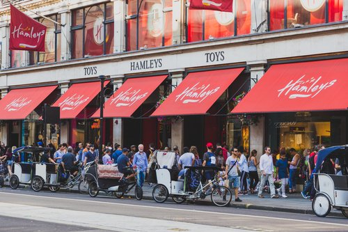 LONDON, UNITED KINGDOM - exterior of the popular Hamleys toy store in central London