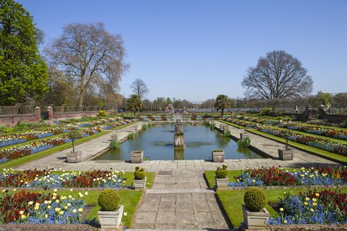 A view of the beautiful Sunken Garden at Kensington Palace in London.