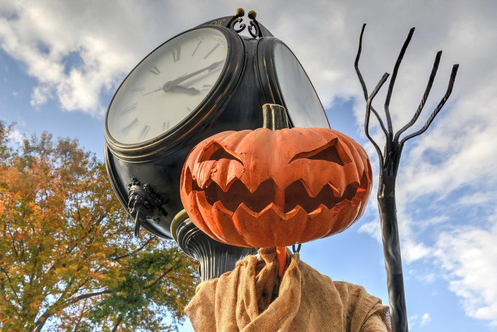 Scary Jack O'Lantern from Sleep Hollow, New York during Halloween.