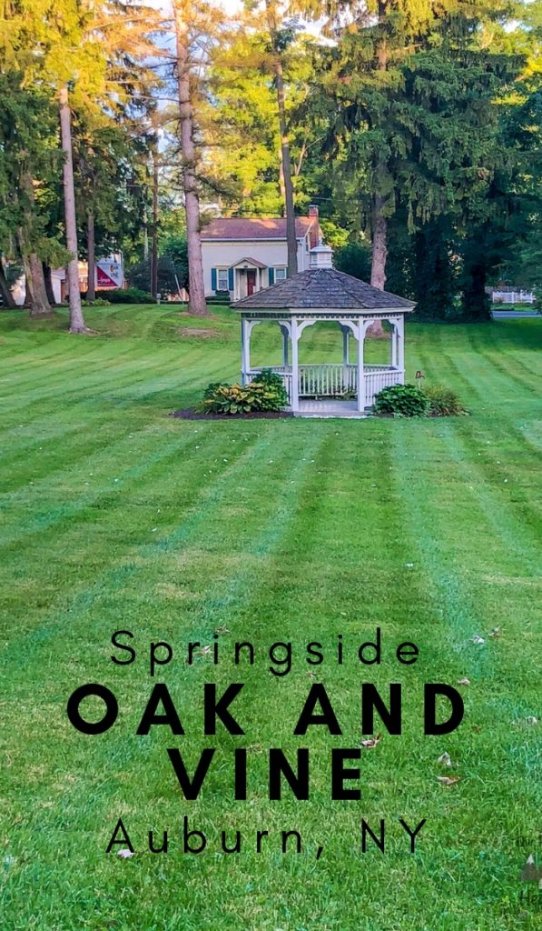 Oak and Vine Auburn NY at Springside is an exquisite wedding venue, restaurant, and inn. The restaurant sits on Finger Lakes to provide jaw-dropping views. #oakandwine #auburnny #newyork #ourroaminghearts | Oak and Wine Auburn | New York Restaurants | Wedding Venues | New York Travel