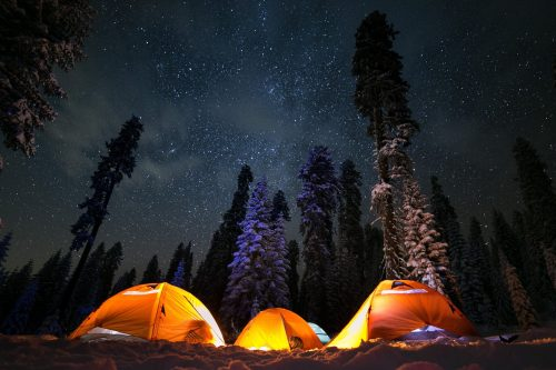 nigh time camping in the woods - Camping Calendar
