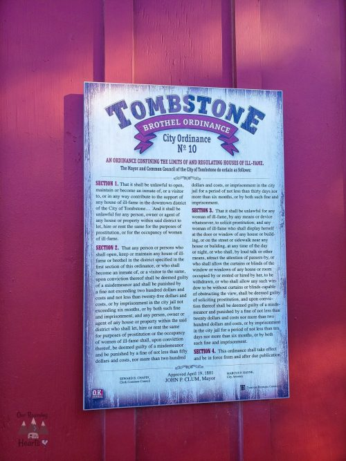 Tombstone Brothel Ordinance
