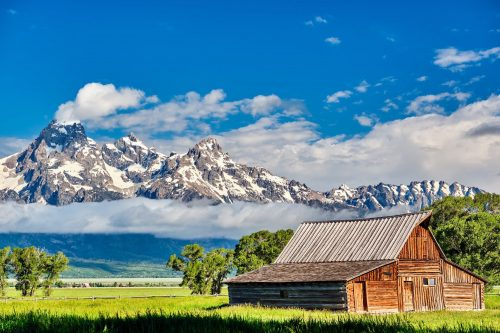 Morman Row Barn in Grand Teton Mountains