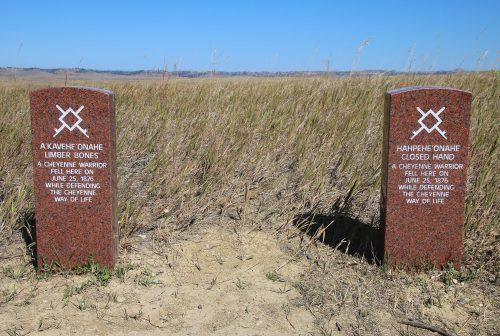 Indian warrior marker stones at Little Bighorn Battlefield Natio