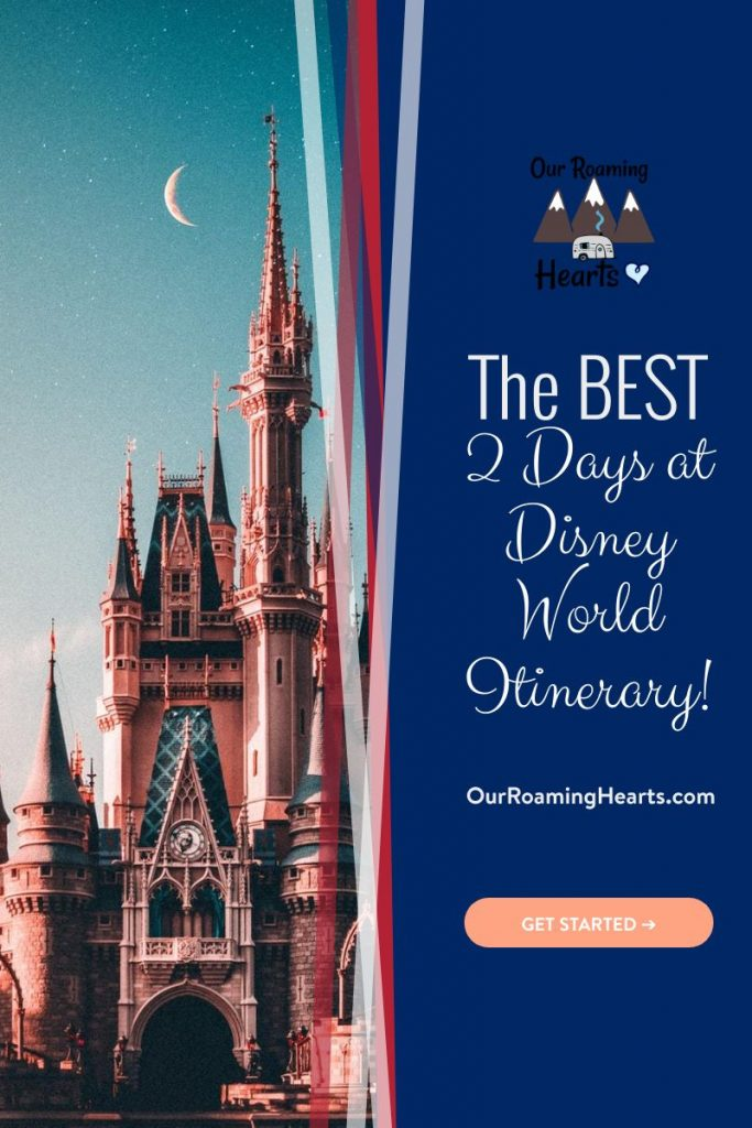If you have just 2 days at Disney World in Orlando, Florida, then you will want to make the most of your time there. Use this 2 Day Itinerary to plan your trip. #ourroaminghearts #disney #itinerary #orlando #floridavacation   Orlando, Florida   Disney Vacation   Disney Itinerary   Things to do at Disney  